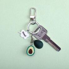 2019 New Simulation Fruit Avocado Heart-shaped Keychain Fashion Jewelry Gift For Women pendant accessories kids key keyring