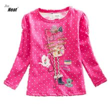 Girl long sleeves T-shirt cotton embroidery wave point 2017 new spring and autumn girls wearing casual wear T-shirt 1-7Yrs F2101