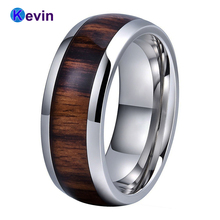 Silver Men Ring Tungsten Wedding Band For Women Dome With Real Wood Inlay Comfort Fit
