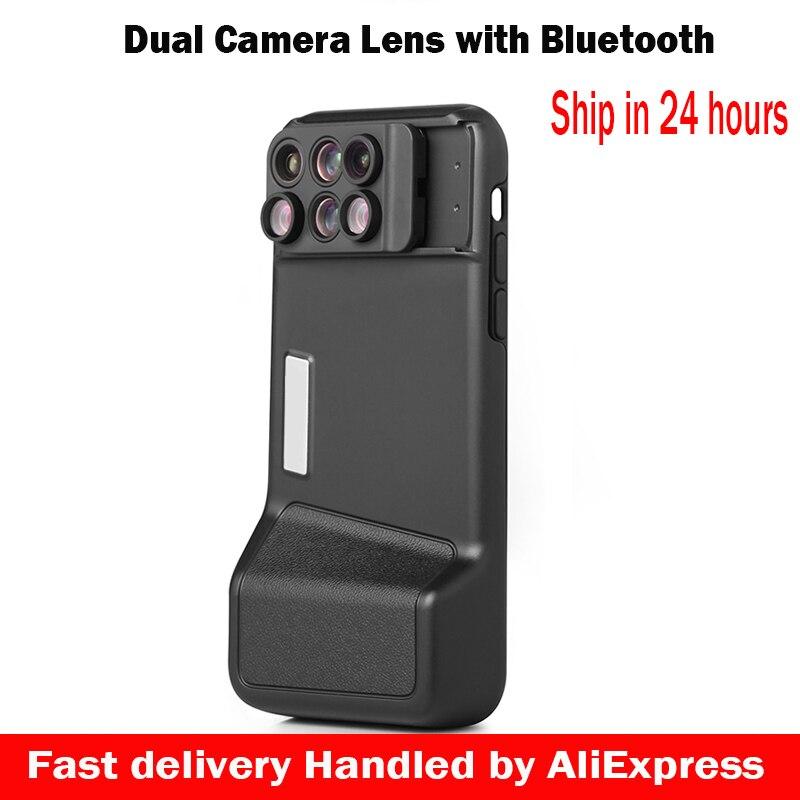 6 в 1 двойной Камера объектив для iPhone X 10 10X/20X зум макро объектив телескопа + Bluetooth + чехол для телефона для iPhone X