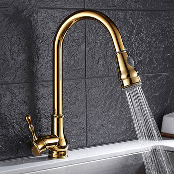 Kitchen faucets Bathroom Gold/Black/Chrome Pull Down Kitchen Faucet Solid Brass Swivel Pull Out Spray Sink Mixer Tap Water tap