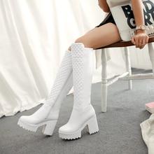 2017 new fashion long boots square high heel side zipper Riding Equestrian plush Knee High autumn