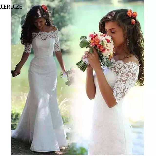 White Lace Boho Mermaid Wedding Dresses Half Sleeves Off The Shoulder Beach Bridal Dresses Elegant Wedding Gowns