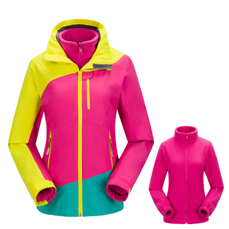 Outdoor Sports Waterproof jacket Women's Winter 2 pieces Softshell Fleece Jackets Thermal Hiking Skiing Female Coats mens winter softshell pant waterproof trousers cycling skiing hiking camping pants men soft shell fleece thermal outdoor trouser
