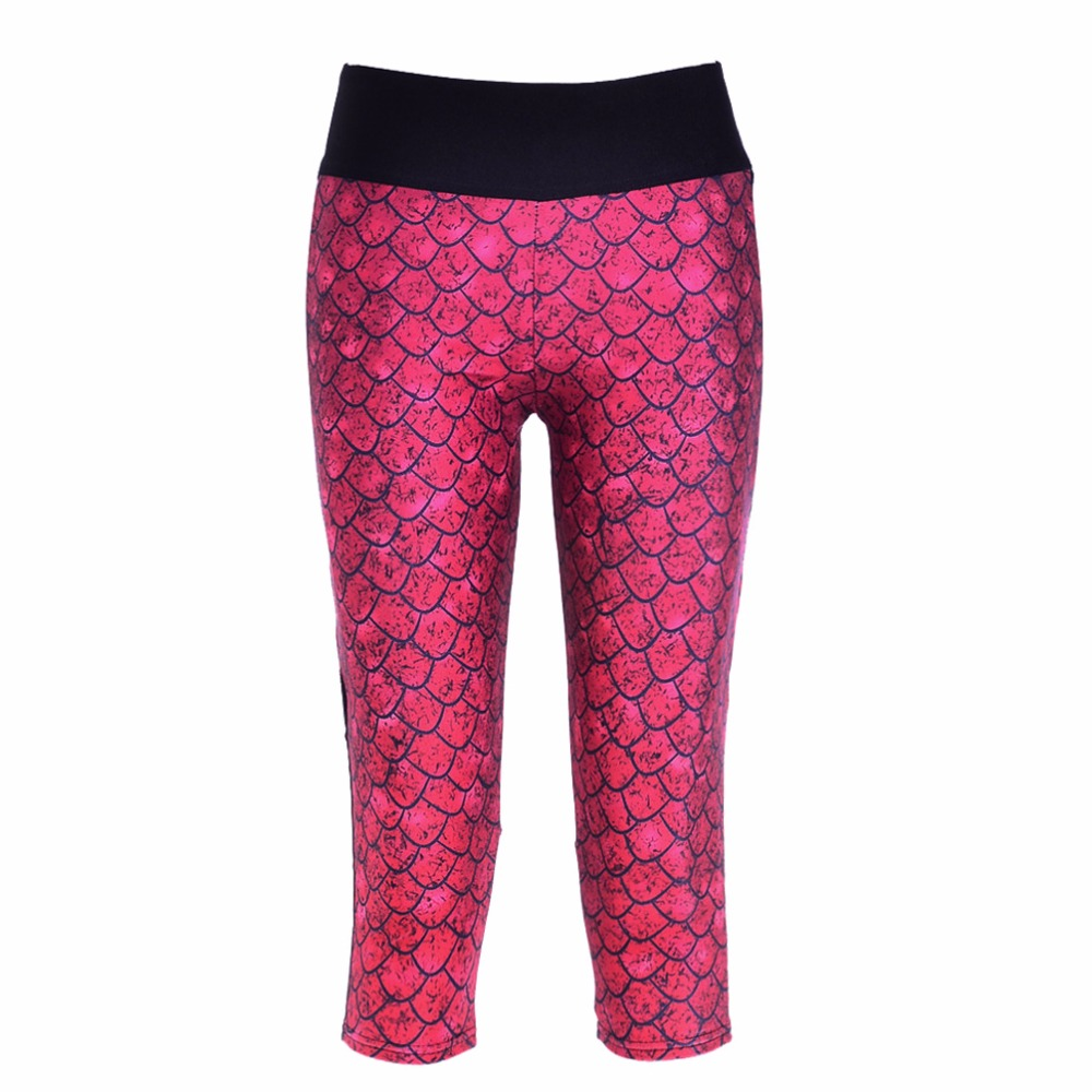 Legging Women Mermaid Print Summer Style   Pants     Capris   Women Leggins Female   Pants   Thin and Soft Mid Calf Legging