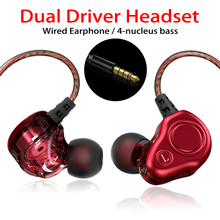 Wired Earphone For Phone Dual Driver HiFi Stereo In-Ear Headset 3.5mm Sport Running Earphones With Microphone Earbuds