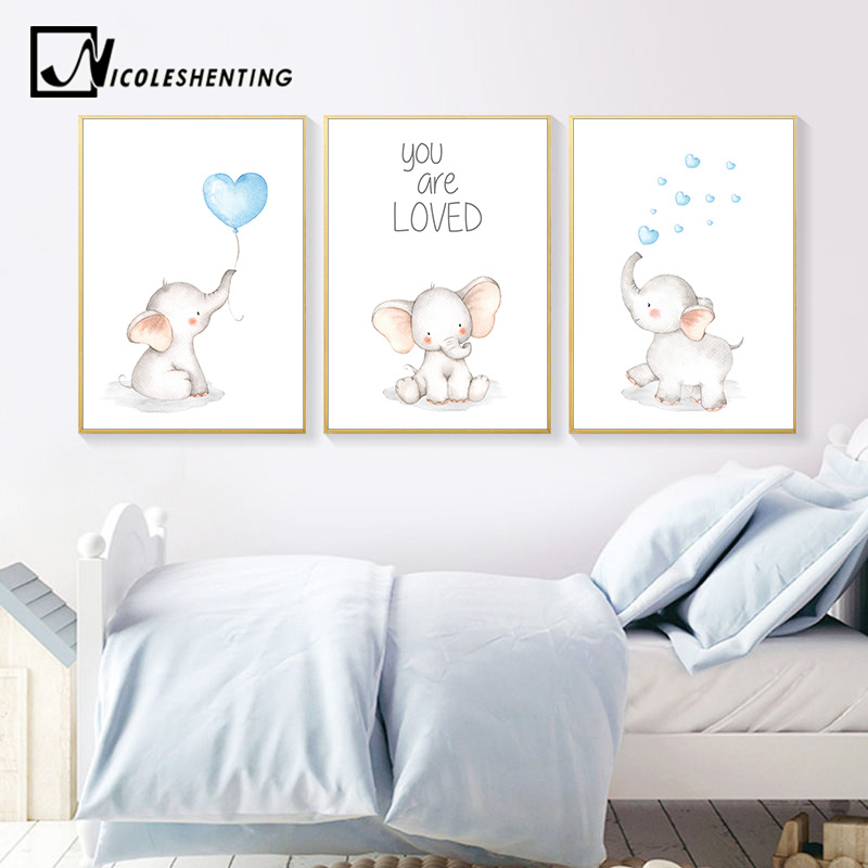 Baby Nursery Wall Art Canvas Painting Elephant Animal Poster Print Nordic Kids Decorative Picture Children Bedroom Decoration