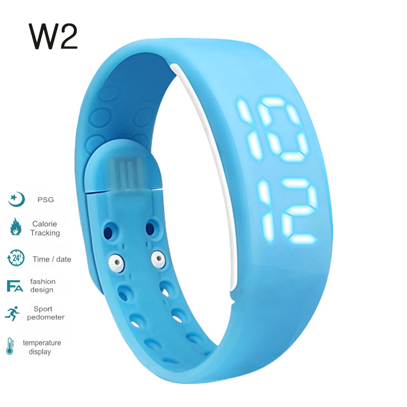 W2 Smartband Time Display Smart Watch with 3D Pedometer Temperature Sleep tracker Waterproof fitness bracelet pk