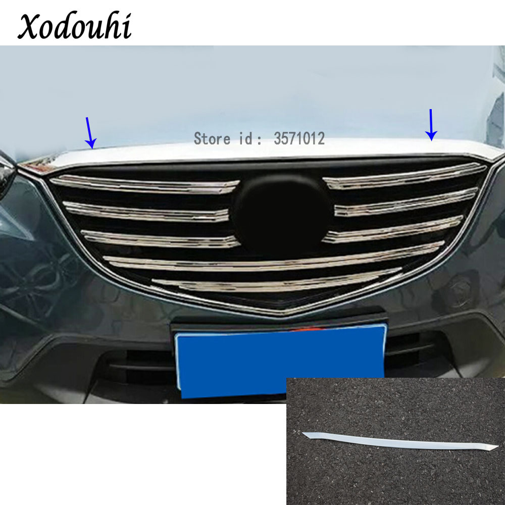 For Mazda CX-5 CX5 2013 2014 2015 2016 car ABS chrome panel front engine Machine racing grill grille hood stick trim lamp 1pcs car garnish cover abs chrome front engine machine grille grid grill lid trim lamp 1pcs for kia sorento l 2015 2016 2017 2018