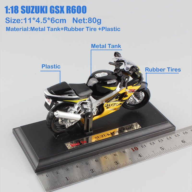 US $12 68 32% OFF|1/18 scale mini SUZUKI GSX R600 motorbike metal diecast  model motorcycle kids auto toys race collection cars for boys with base-in