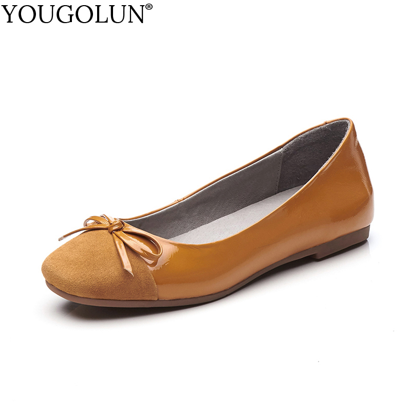 YOUGOLUN Women Loafers Genuine Patent Leather Casual Ladies Flat Shoes Woman Gray Green Black Yellow Square toe Flats #A-092 fanyuan casual women ladies flat candy 6 color patent leather flat shoes women pointed toe flat free shipping plus size 30 49