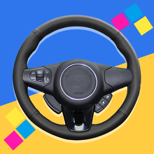 Auto Braid On The Steering Wheel Cover for Kia Carens 2013 2014 2015 2016 2017 2018 2019 Car Leather Wheel Covers Car-styling