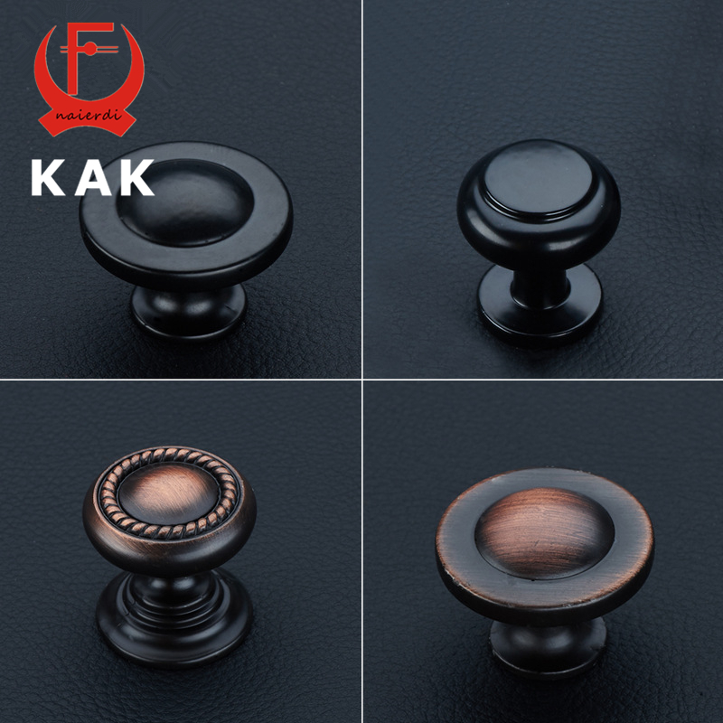 KAK American Style Black zinc alloy Handles Cabinet Drawer Knobs Wardrobe door single hole handles pulls Solid furniture handles