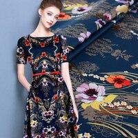 25 мм Тяжелая шелковая ткань Стретч Печать шелковый атлас Ткань мягкая одежда шелковой ткани для платья Оптовая продажа; шелковая ткань