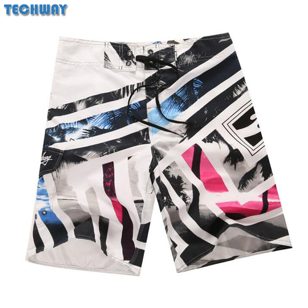 2018 New Plus Size Men's Beach Shorts Mens Bermuda Surf Boardshorts For Swimwear Men Swim Surfing Shorts Board Quick Dry Silver