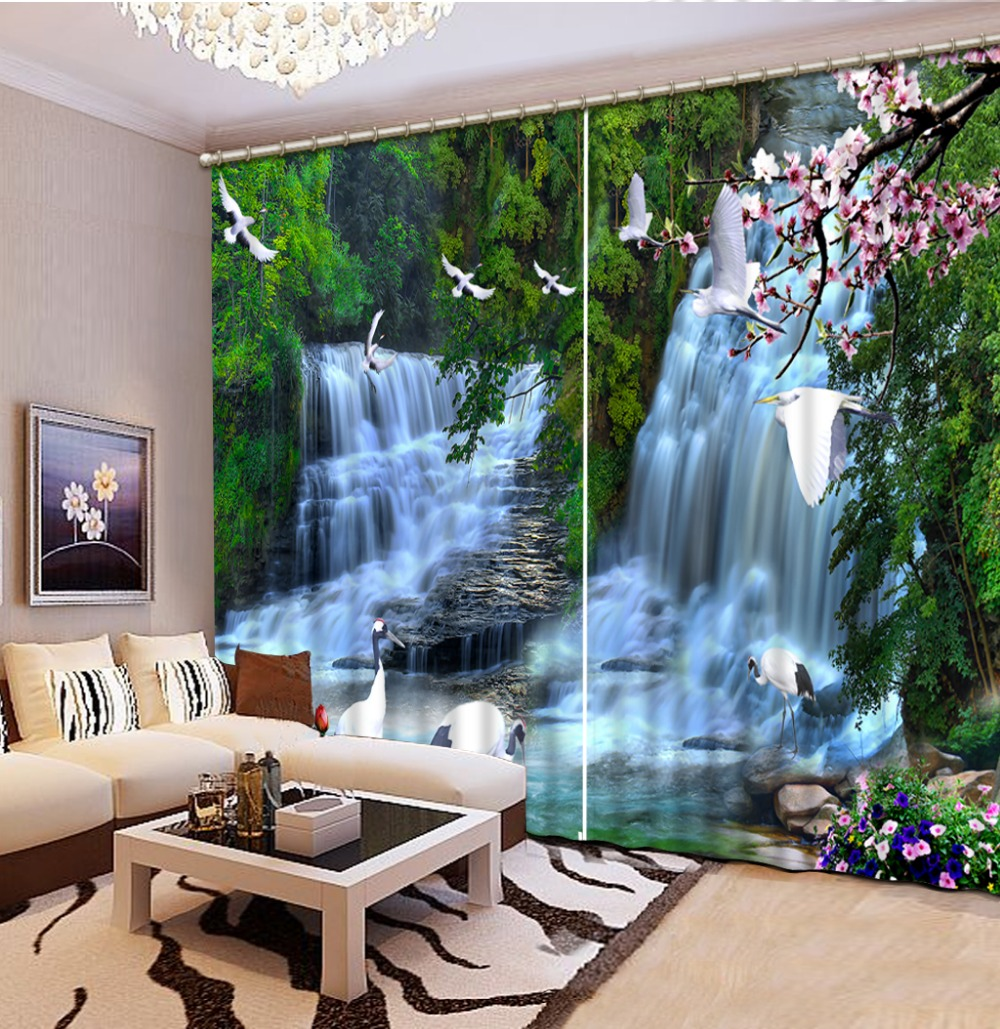 3d curtain fashion 3d curtains nature waterfall home decor for Room decor 3
