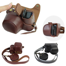 Real Leather-based Digital camera Case Bag For Sony A6000 A6300 16-50mm Actual leather-based Digital camera Bag With Strap Lens Cowl Open Battery straight