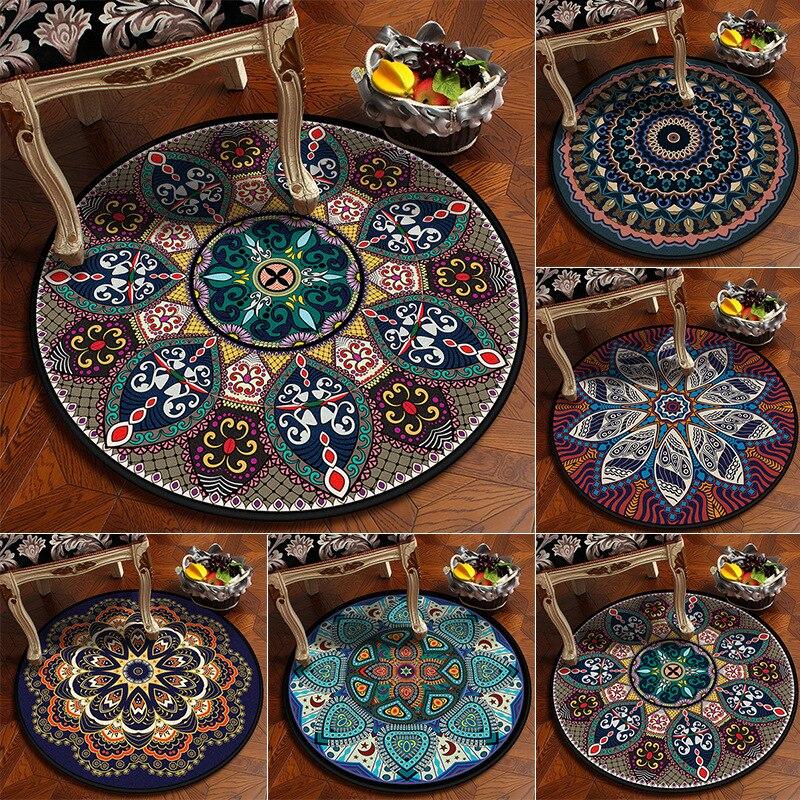 Custom European Classical Vintage Ethnic Mandala Round Carpet Non-slip Balcony Coffee Table Hanging Basket Home Decoration Mat