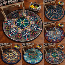Custom European classical vintage ethnic mandala round carpet Non-slip Balcony coffee table hanging basket home decoration mat