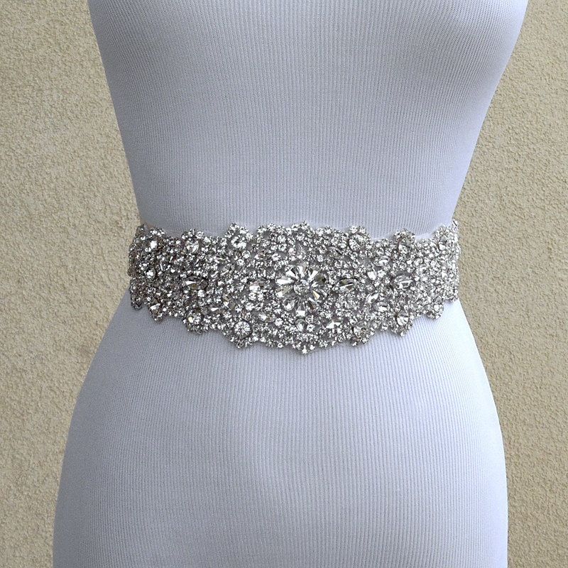Luxury Bling Rhinestone Beaded Wedding Belt Wedding Dress