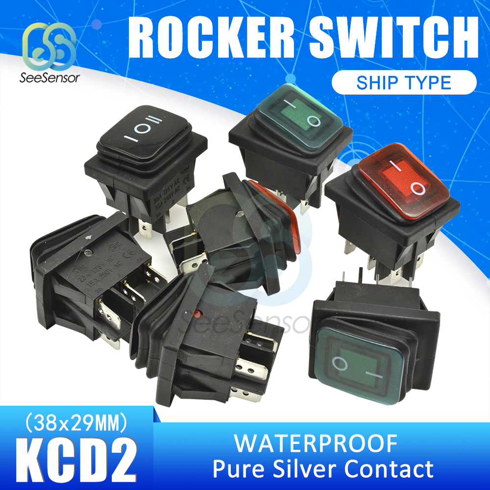 Red 3 Position 6Pin DC 12V Waterproof Car Boat LED Rocker Switch Latch ht