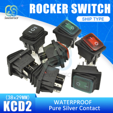 Waterproof KCD2 Push Button Switch SPST 4Pin 6Pin 20A/125V 15A/250V On/Off Boat Rocker Switch 38x29mm Pure Silver Contact