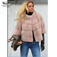 Tatyana FurclubReal Real Mink Fur Coat Women O Neck Genuine Leather Mink Fur Winter Jacket Short Style Fashion Mink Fur Female