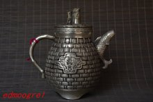 Antique Old MingDynasty silver carving teapot,Fishing rod,hand crafts,best collection&adornment,free shipping