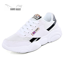 цены Women Sport Shoes Sneakers Fashion Platform Running Shoes Ladies Footwear Breathable Mesh Basket Sneakers кроссовки женские