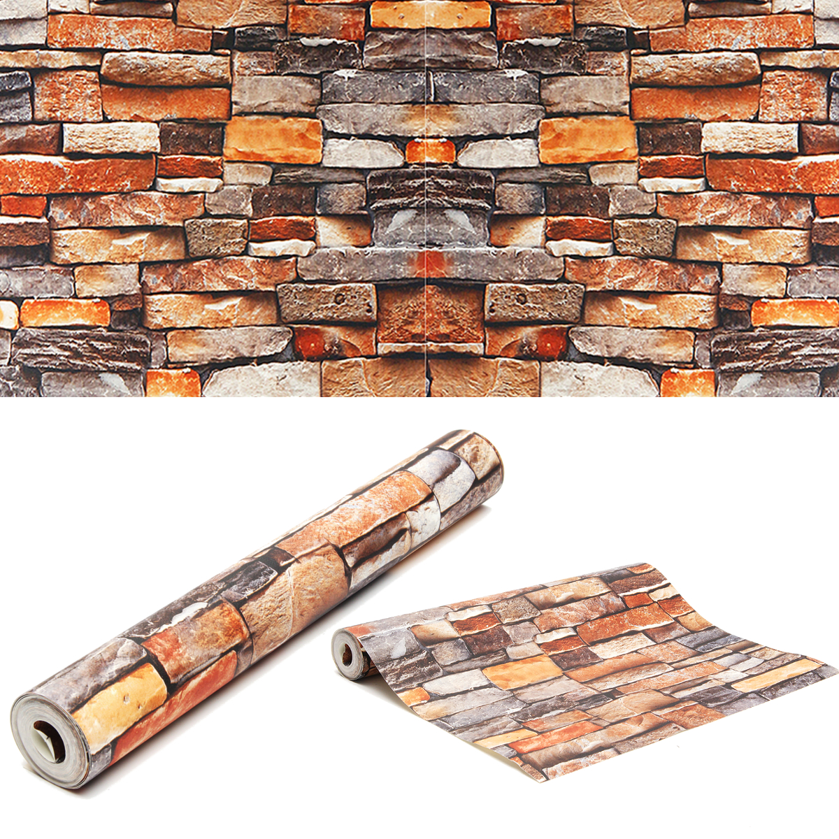 Retro 3D Brick Wallpaper Roll Rustic Vintage Vinyl Old Stone Wall Paper For Home Living Room Restaurant Cafe Decor 0.53x9.5m shinehome sunflower bloom retro wallpaper for 3d rooms walls wallpapers for 3 d living room home wall paper murals mural roll