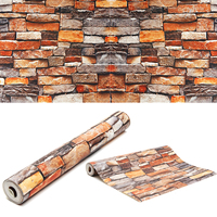 Retro 3D Brick Wallpaper Roll Rustic Vintage Vinyl Old Stone Wall Paper For Home Living Room