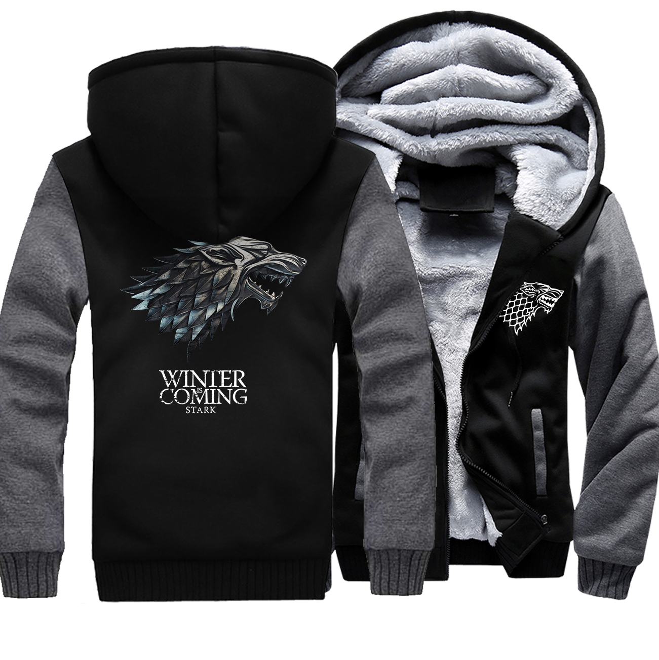 Hot Sale Men Clothing 2018 Fashion Winter Warm Thick Hoodies Male Hipter Game Of Thrones Anime Sweatshirt High Quality Tracksuit