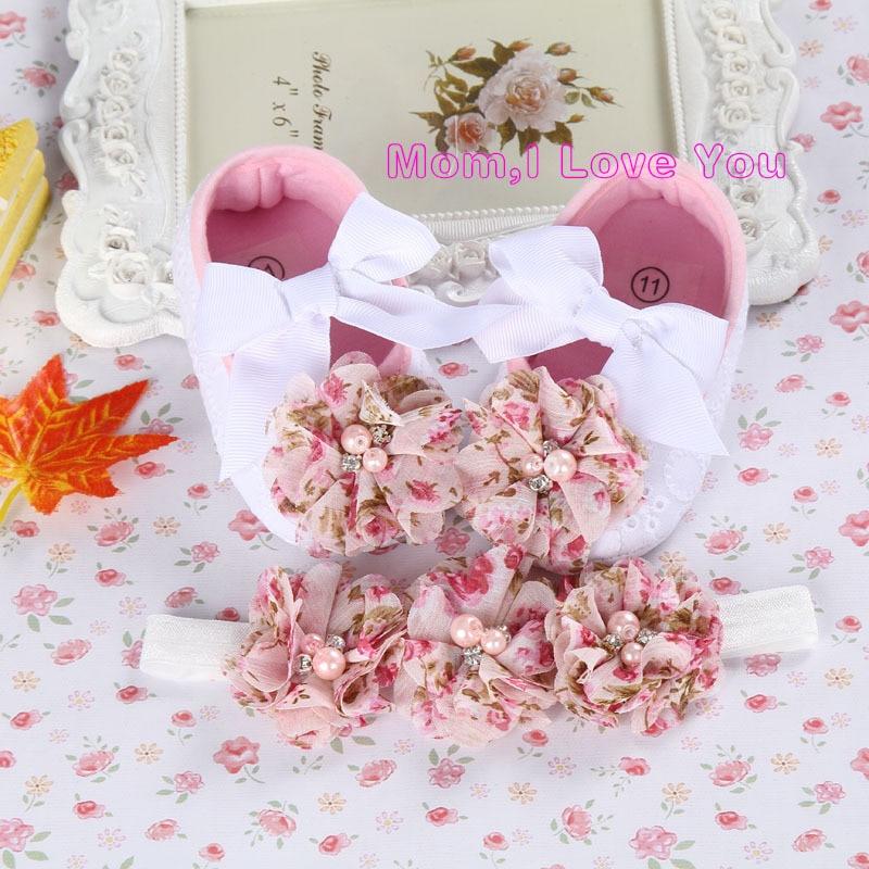 Bébi keresztség cipő, olcsó újszülött cipő, csizmák nyári italok, baba cipő márkás, virág cipő baba lány Tiara fejpántok beállítása