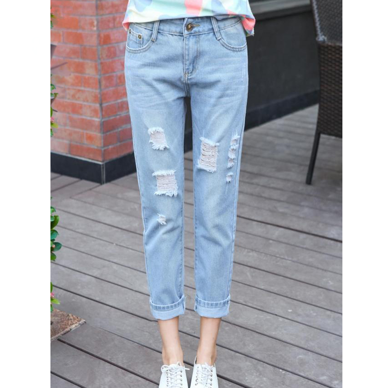 2018 Woman Ankle-length straight plus size trousers With High Waist Jeans washed fashion holes Jeans pants Jeans for women Jeans