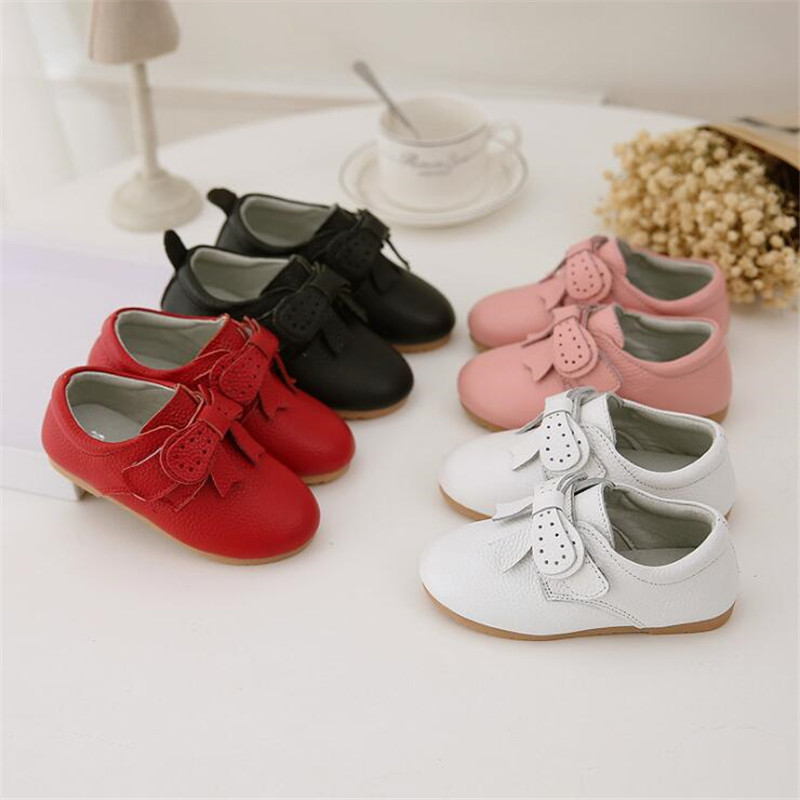 MHYONS Children's Shoes 2020 Red Pink Black Leather Shoes Girl Princess Bow Soft Party Dress Children's Shoes Single Shoes