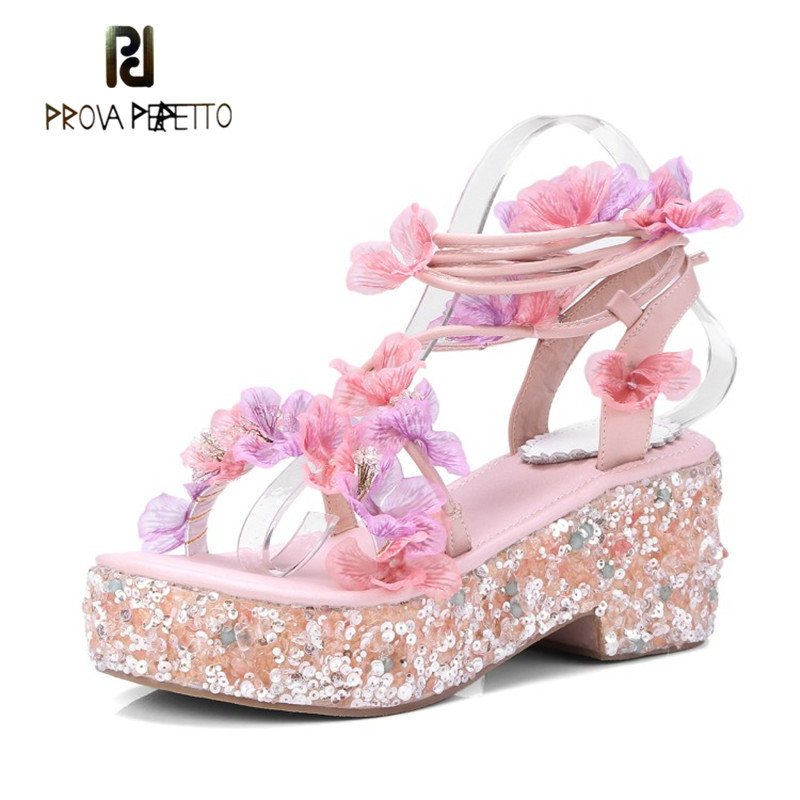 Prova Perfetto Sweet Muffin Platform Women Shoes Mixed Color Bling Bling High Heel Shoe Sweet Floral Cross-tied Pink Sandals цена 2017