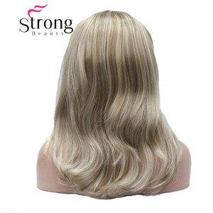 Image 4 - StrongBeauty Medium Blonde Highlights Natuurlijke Lichte Golven Heat Ok Synthetische HOOFDBAND Pruik KLEUR KEUZES
