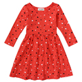 2017Fishon 100% Cotton Baby Girls Dress Long-Sleeve Red Heart-Shape Winter Dresses For Kids Children Clothes
