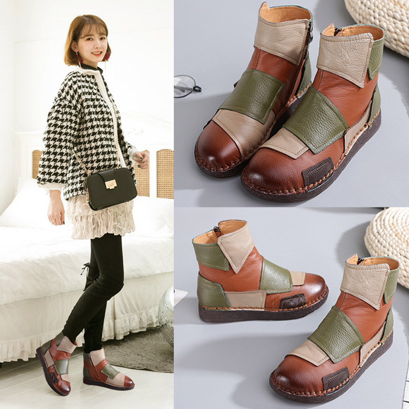 Women Autumn Shoes Ankle Boots Big Size High Quality Genuine Leather Women Shoes Women Spring Short Boots Botas Mujer handmade women shoes genuine leather women boots spring autumn vintage ankle boots flat bootie botas mujer