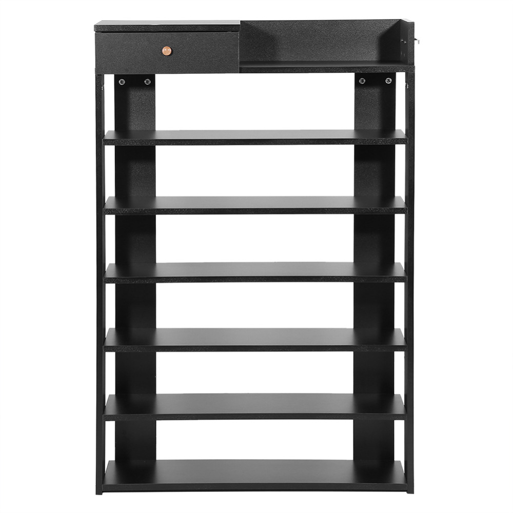 Honesty 6 Tiers Black Standing Shoe Rack With Drawer Shoes Shelf Storage Wardrobe Rack Shoe Organizer Home Use Shoe Cabinet Possessing Chinese Flavors