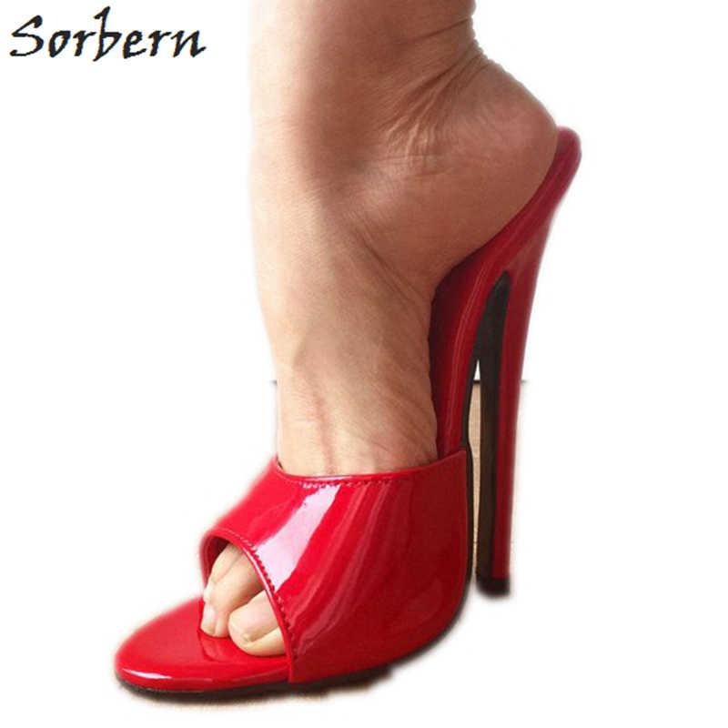 Sorbern błyszczące czerwone kapcie kobiety 18Cm szpilki Crossdresser slajdy Sexy fetysz szpilki niestandardowe kolory buty z otwartym noskiem lato