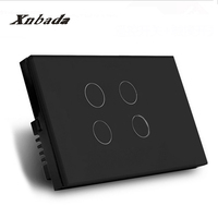 US AU Standard 4 Way Remote Touch Switch Crystal Glass Panel Smart Switch AC110 240V LED