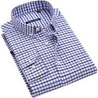 Men S Oxford Plaid Striped Long Sleeve Tops Shirt Smart Casual Slim Fit Easy Care Comfortable