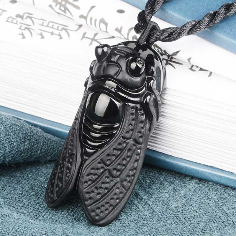 TNUKK  Obsidian Crystal Palm Fortuna Pendant Men And Women Fashion Black Stone Jewelry Gift + Free Necklace.