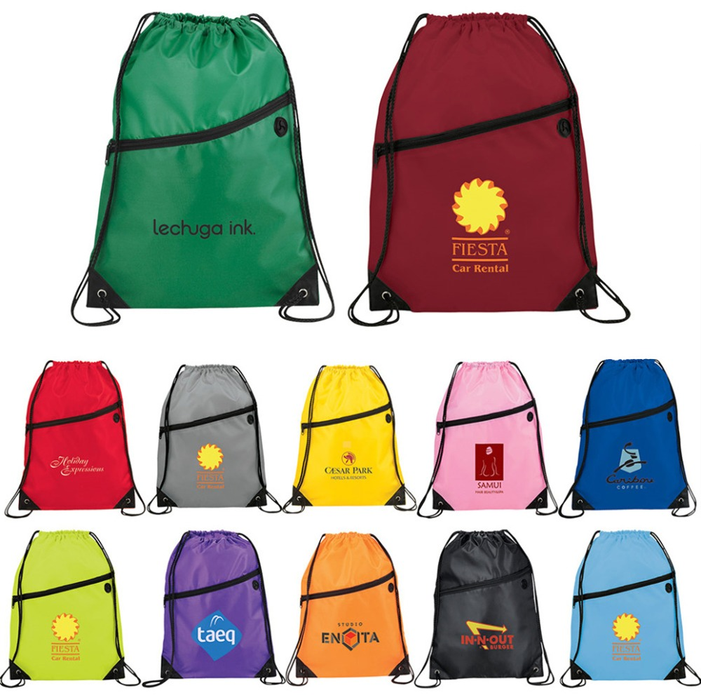 Fashion Custom Made Polyester Drawstring Backpack Bag With Front Zipper Pocket