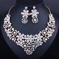Позолоченные Белый Кристалл Стразы Ожерелье серьги набор для Женщин Африки Дубай Невесты Ювелирные наборы