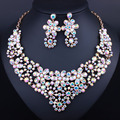 Gold plated Full White Crystal Rhinestones Necklace earrings set for Women African Dubai Bride Jewelry sets