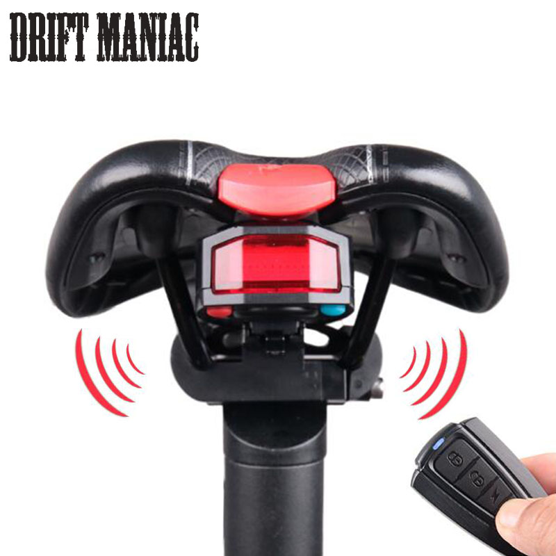 Bicycle Rear Light + Anti-theft Alarm USB Rechargeable Wireless Remote Control LED Taillight Lamp Bike Finder Lantern <font><b>Horn</b></font>