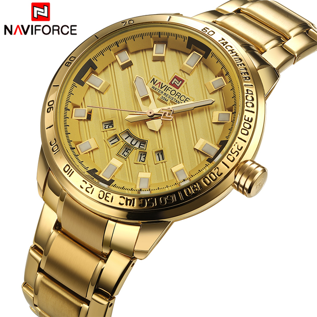 Naviforce Luxury Calendar Week Day Stainless Steel Waterproof Men Quartz Watches 1