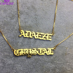 Customized Jewelry Gothic Old English Name Necklace Personalized Letters Wedding Date Pendant Box Chain Women Men Birthday Gifts